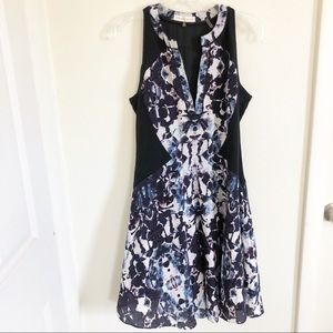 Rebecca Taylor | Dark Floral Colorblock Dress